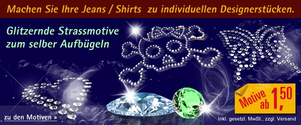Strassmotive Bügelmotive Hotfixmotive Strasssteine Strassapplikationen